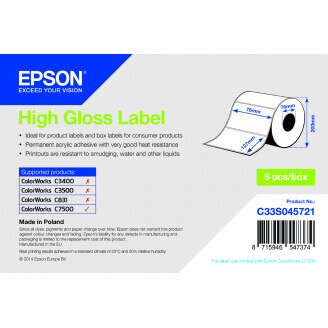 Epson High Gloss Label - Die-cut Roll: 76mm x 127mm, 960 labels