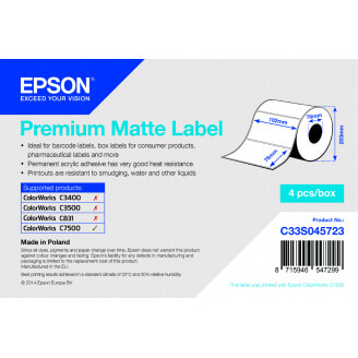 Epson Premium Matte Label - Die-cut Roll: 102mm x 76mm, 1570 labels