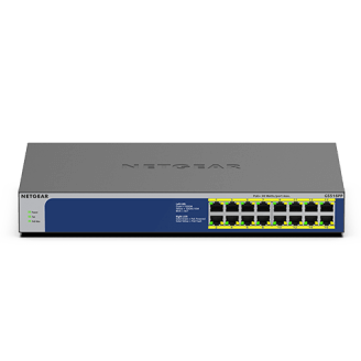 Netgear GS516PP Non-géré Gigabit Ethernet (10/100/1000) Bleu, Gris Connexion Ethernet, supportant l'alimentation via ce port (Po