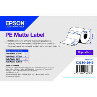 Epson PE Matte Label - Die-cut Roll: 102mm x 152mm, 185 labels