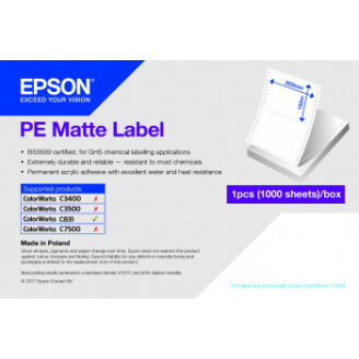 Epson PE Matte Label - Die-cut Fanfold sheets with sprockets: 203mm x 305mm, 500 labels